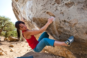 Professional climber Courtney Woods. She loves climbing, but is also training to become even stronger....not to have a good body